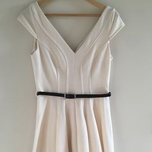 Belted A-Line Dress in Ivory—Perfect for Spring